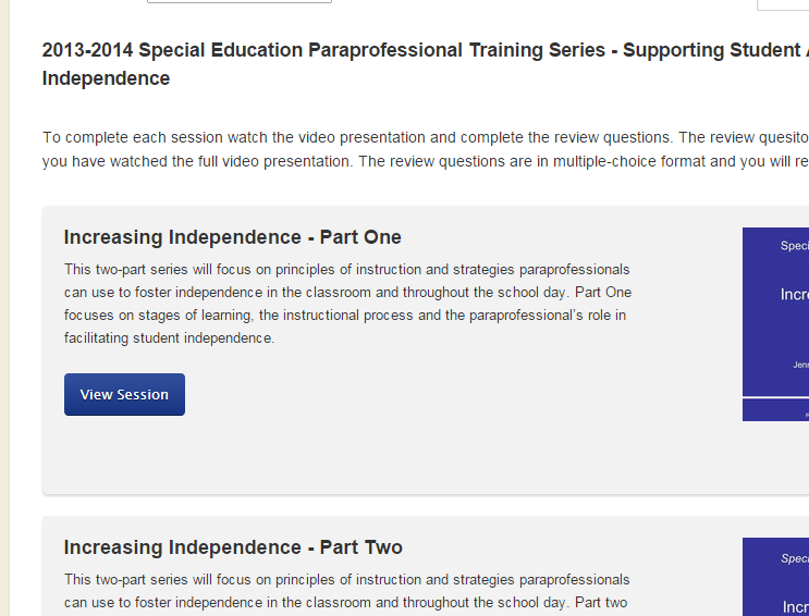 Help pattan para paraprofessionals step 1 choose the training session you want to view yelopaper Images